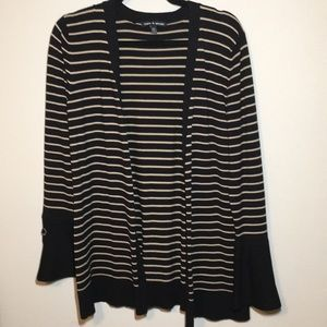 Cable & Gauge Cardigan Black and Tan Stripes M